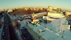 Winter panorama of the city of Omsk Stock Footage