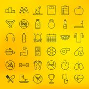 Fitness and Dieting Line Big Icons Set - stock illustration