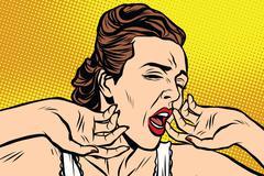 retro woman yawning in the morning - stock illustration
