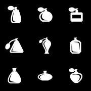 Vector white perfume icon set Stock Illustration