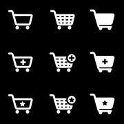 Vector white shopping cart icon set Stock Illustration