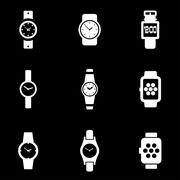 Vector white wristwatch icon set Stock Illustration