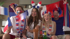 French fans cheering for france Stock Footage