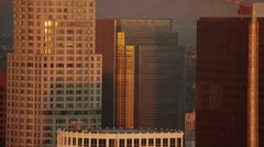 Aerial view at sunset US Bank building Los Angeles Stock Footage