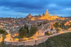 Alcazar on a hill over the Tagus River, Toledo - stock photo