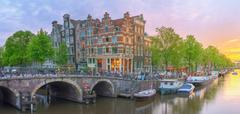 Amstel river, canals of Amsterdam. Netherlands Stock Photos