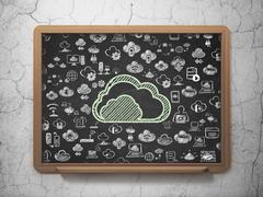 Cloud computing concept: Cloud on School board background - stock illustration