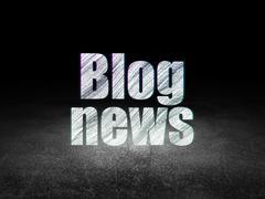 News concept: Blog News in grunge dark room - stock illustration