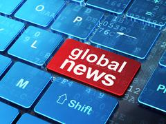 News concept: Global News on computer keyboard background - stock illustration
