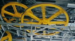 Huge wheels hoist elevators or funicular Stock Footage