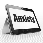 Healthcare concept: Tablet Computer with Anxiety on display - stock illustration