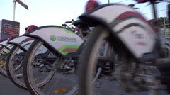 MOSCOW, RUSSIA - July, 2. Row of bicycles of city bike rental, steadicam 4K shot Stock Footage