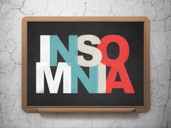 Medicine concept: Insomnia on School board background - stock illustration