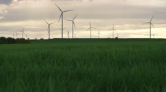 Wind Turbins On Summer Field Stock Footage