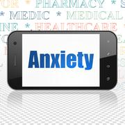 Health concept: Smartphone with Anxiety on display - stock illustration