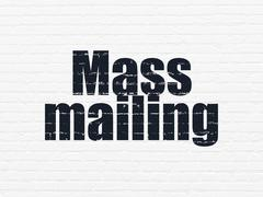 Advertising concept: Mass Mailing on wall background - stock illustration