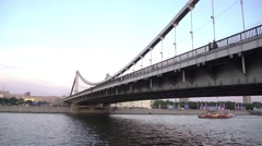 MOSCOW, RUSSIA - July, 2. Krymsky cable bridge near Gorky park steadicam 4K shot Stock Footage