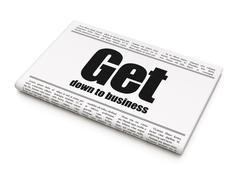 Business concept: newspaper headline Get Down to business Stock Illustration