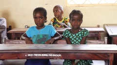Africa native village student girls in school Stock Footage