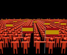 Crowd of abstract people with many Spanish flags illustration - stock illustration