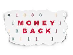 Business concept: Money Back on Torn Paper background - stock illustration