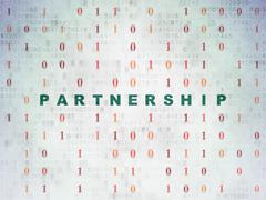 Finance concept: Partnership on Digital Data Paper background - stock illustration