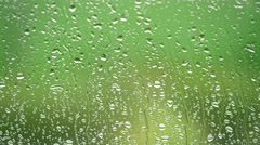 Rain Water Running Down The Glass Surface Stock Footage