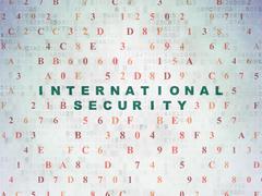 Security concept: International Security on Digital Data Paper background - stock illustration