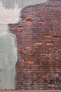 Antique Red Brick Wall with Grout Skim on Left Stock Photos