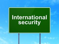 Security concept: International Security on road sign background - stock illustration