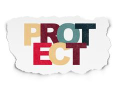 Security concept: Protect on Torn Paper background - stock illustration