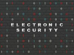 Privacy concept: Electronic Security on wall background Stock Illustration