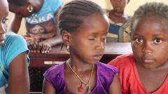 Africa native village children in school Stock Footage