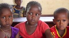 Africa native village children in school - stock footage