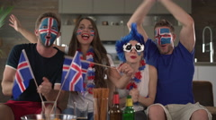 Iceland fans cheering Stock Footage