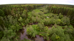 Aerial shot of the small lake in the forest Stock Footage