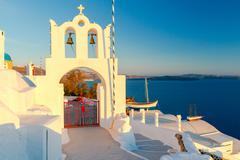 Oia. Greek church. Stock Photos