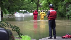 Rescue squad during a flood - stock footage