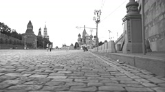 MOSCOW, RUSSIA - July, 2. Red Square black and white low angle wide steadicam 4K - stock footage