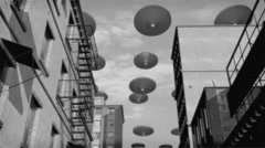 Vintage Alien Invasion: UFO Armada over the city 2 (Black and White) Stock Footage