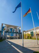 Berlin Bundeskanzleramt with Flags Stock Photos
