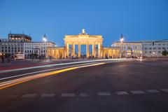 Berlin Brandenburg Gate with traffic Stock Photos