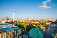 Berlin Alexanderplatz and River Spree Stock Photos