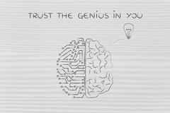Human and circuit brain having an idea, trust the genius in you Stock Illustration