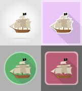 Pirate ship flat icons vector illustration Stock Illustration