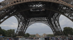 Woman with mobile taking picture of Eiffel Tower Stock Footage