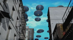 Vintage Alien Invasion: UFO Armada over the city 2 (Color) Stock Footage