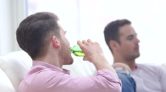 Men Socialising At Home Stock Footage