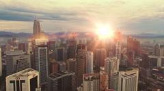 Sunset skyline of Kuala Lumpur city with Petronas Twin Towers or Kuala Lumpur - stock footage
