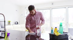 Cleaning The Kitchen Stock Footage